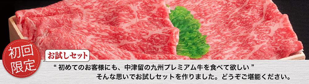 初めてのお客様にも、中津留の九州プレミアム牛を食べて欲しい!そんな思いでお試しセットを作りました。